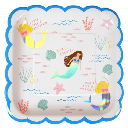 Let's Be Mermaids Party Plates x 8